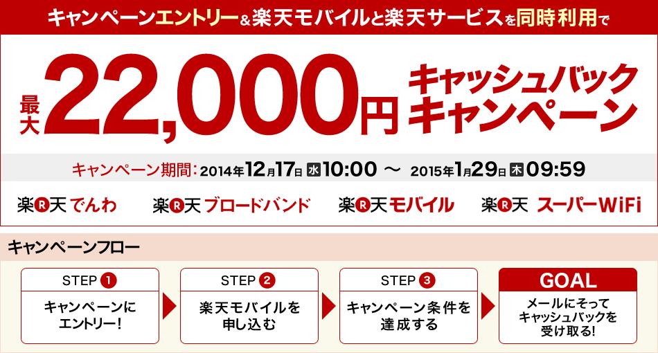 MVNOでも大型キャッシュバックキャンペーン 楽天モバイルが最大22000円CB でもその内容は・・・・